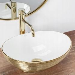 Umywalka Nablatowa Rea Sofia Gold Brush