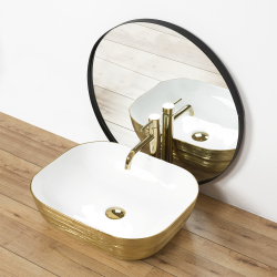 Umywalka Nablatowa Rea Floria Gold/White