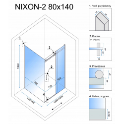 Kabina Prysznicowa Rea Nixon 80x140 cm